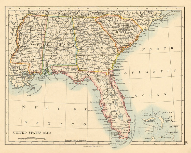 Associate Product USA DEEP SOUTH Florida South Carolina Georgia Alabama Mississippi USA 1892 map