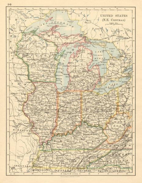 Associate Product USA MID WEST Wisconsin Michigan Illinois Ohio Indiana Kentucky TN 1892 old map