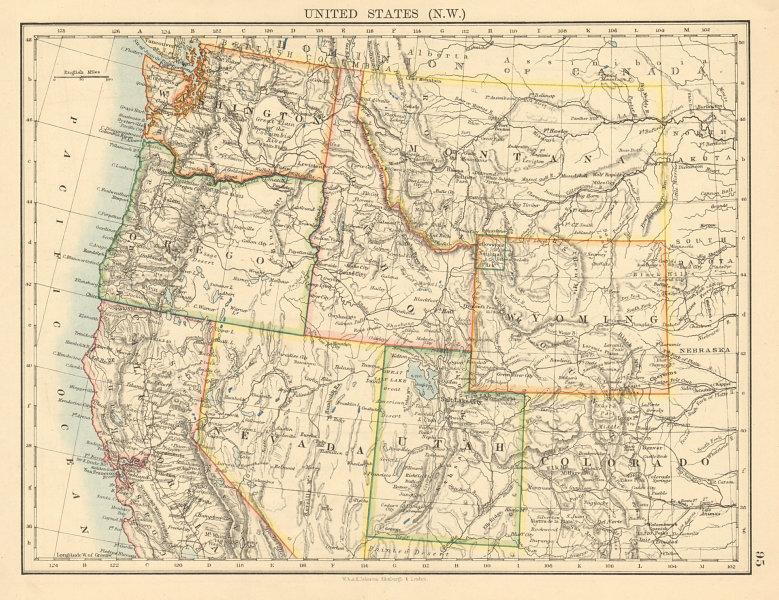 Nw Usa Map.Usa North West Washington Oregon Id Mt Wy Utah Nevada Ca Johnston