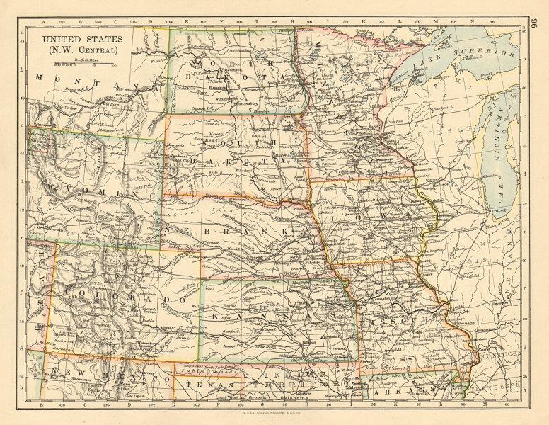 Associate Product USA PLAINS STATES Iowa Minnesota Kansas NE ND SD Colorado JOHNSTON 1892 map