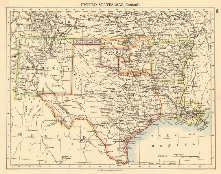 Associate Product USA SOUTH CENTRAL Texas Oklahoma & Indian Territory & Public lands 1892 map