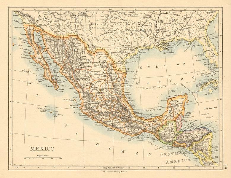 Associate Product MEXICO Central America Guatemala British Honduras JOHNSTON 1892 old map