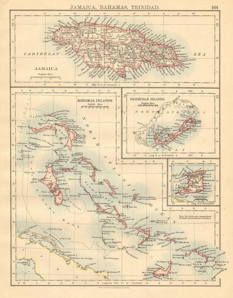 CARIBBEAN/ATLANTIC ISLANDS Jamaica Bermuda Bahamas Trinidad JOHNSTON 1892 map