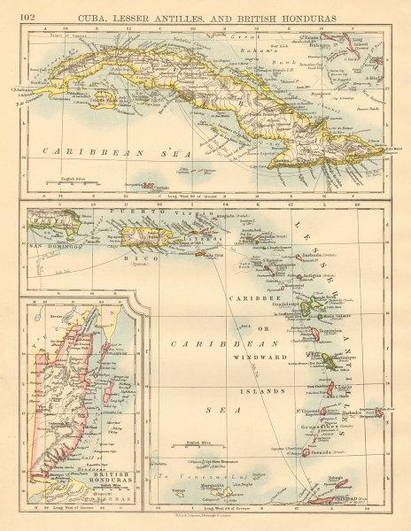 CARIBBEAN ISLANDS Cuba British Honduras Caribbee/Windward JOHNSTON 1892 map