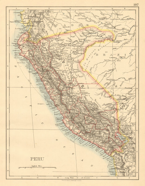 Associate Product PERU with border as before Peru-Ecuador war (1941) JOHNSTON 1892 old map