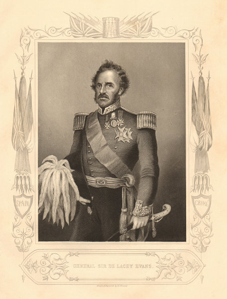 Associate Product CRIMEAN WAR. General Sir George de Lacey Evans 1860 old antique print picture