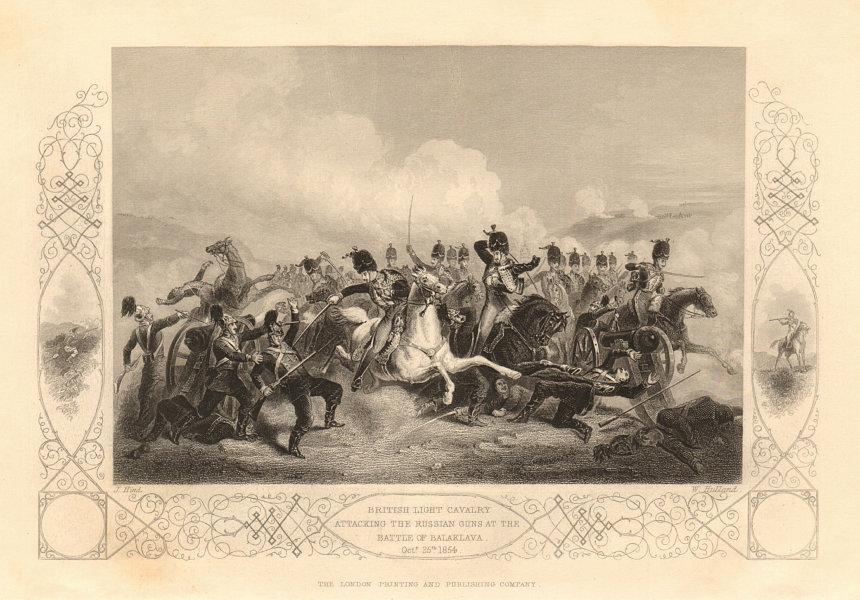 Associate Product CHARGE OF THE LIGHT BRIGADE. Cavalry attacking Russians. 1854 Balaklava 1860