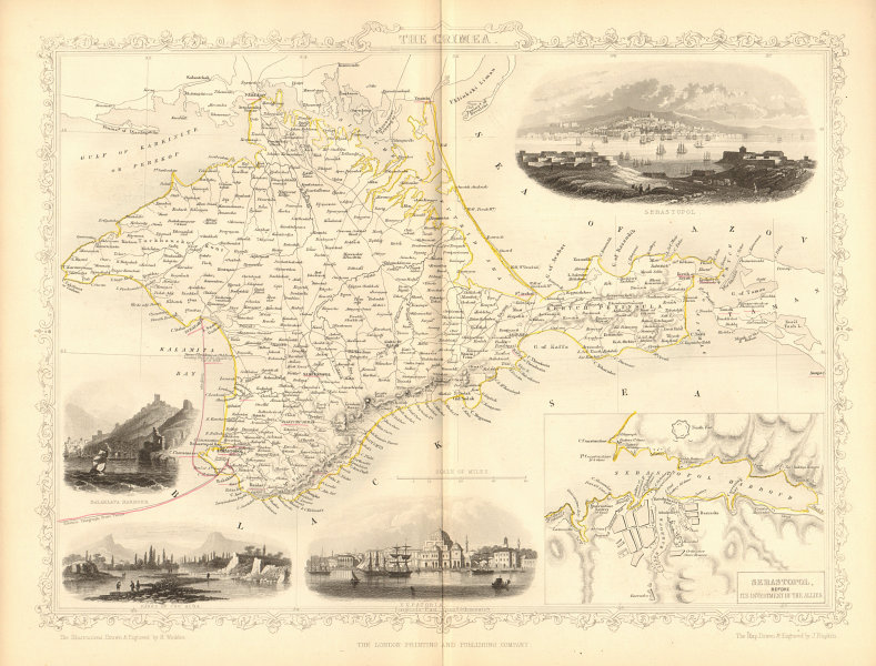 Associate Product CRIMEA. Balaklava, Yevpatoria vignettes. Sevastopol plan. TALLIS/RAPKIN 1860 map