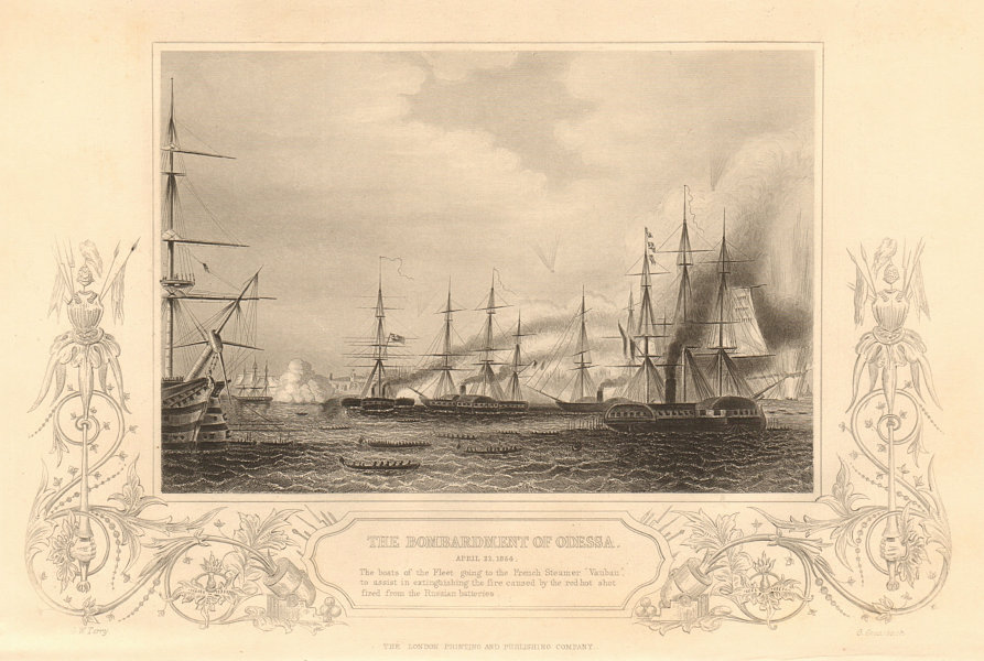 Associate Product CRIMEAN WAR. The Bombardment of Odessa, April 22nd 1854 1860 old antique print
