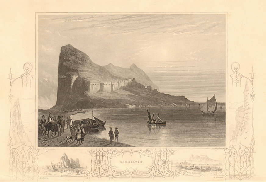 Associate Product View of the Rock and Fortifications of Gibraltar 1860 old antique print