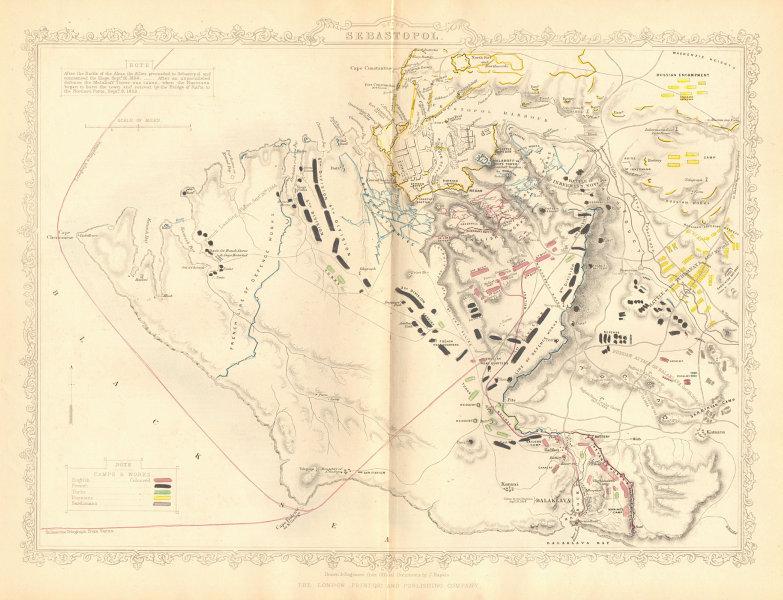 Associate Product CRIMEAN WAR. Siege of Sevastopol / Sebastopol plan. TALLIS / RAPKIN 1860 map