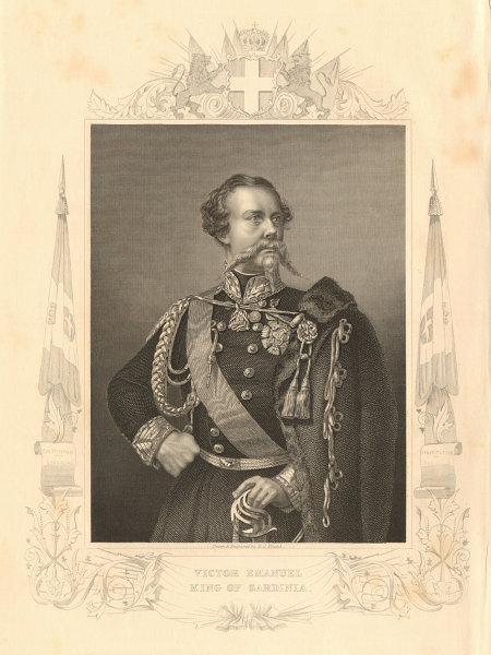 Associate Product Victor Emmanuel II, King of Sardinia 1860 old antique vintage print picture