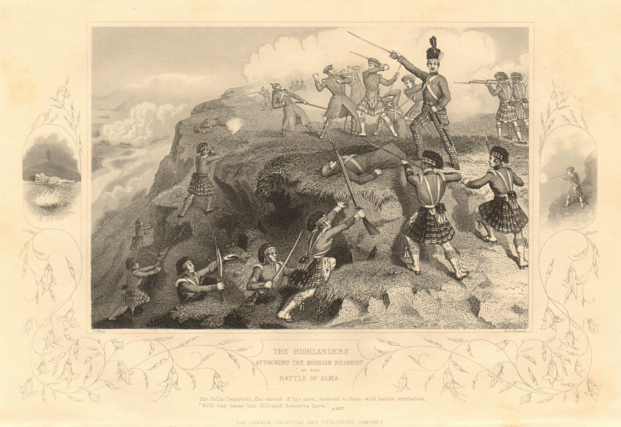 Associate Product CRIMEAN WAR. The Highlanders attacking the Russian Redoubt. Battle of Alma 1860