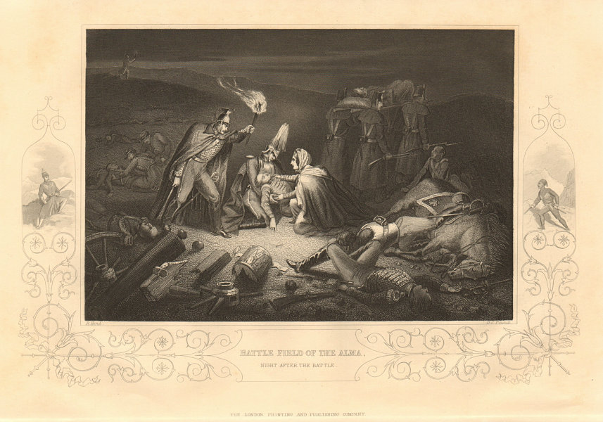 Associate Product CRIMEAN WAR. Battlefield of the Alma, the night after the battle 1860 print