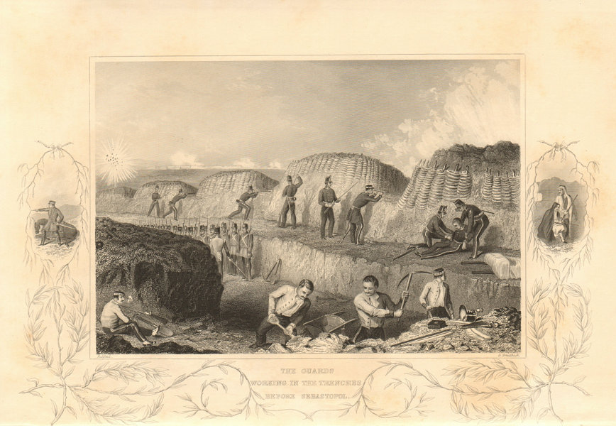 Associate Product CRIMEAN WAR. The Guards digging trenches at Sevastopol 1860 old antique print