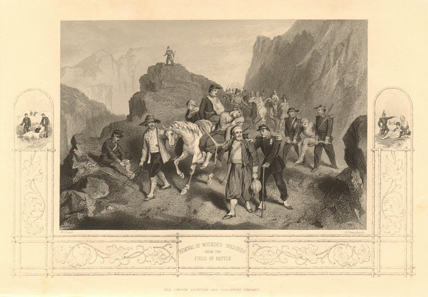 Associate Product CRIMEAN WAR. Evacuating wounded soldiers from the field of battle 1860 print