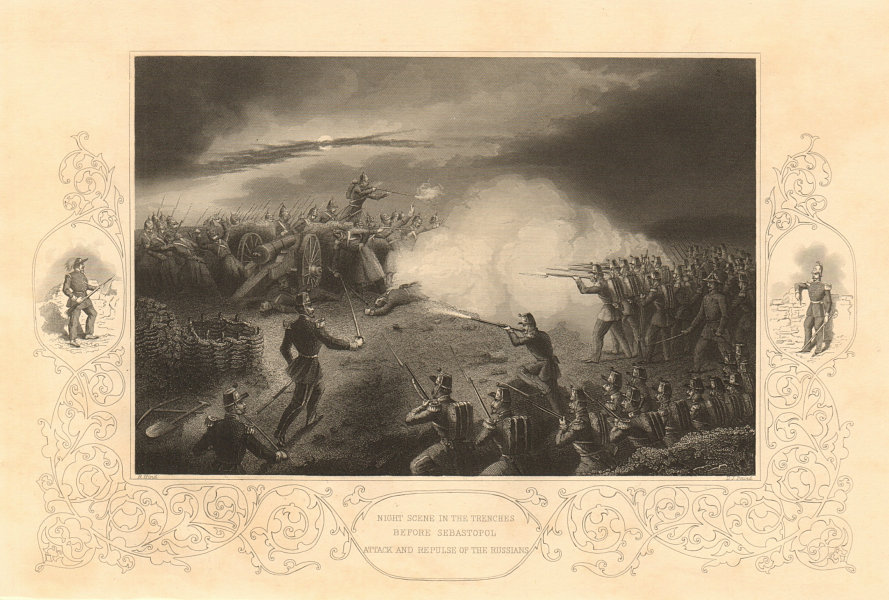 Associate Product CRIMEAN WAR. Sevastopol trenches & repulse of the Russians 1860 old print