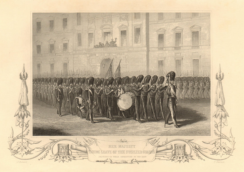Associate Product Queen Victoria reviewing the Fusilier Guards, leaving for the Crimean War 1860