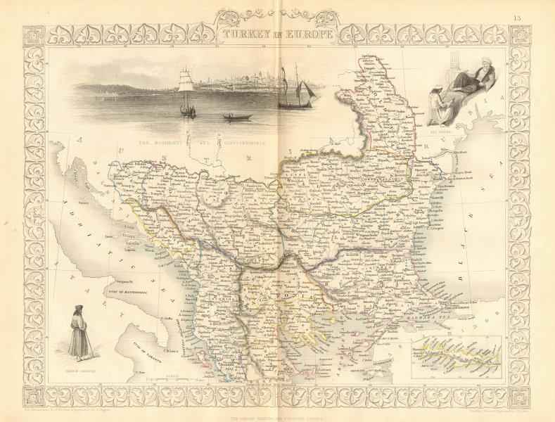 Associate Product TURKEY IN EUROPE. Constantinople/Istanbul view. Balkans. TALLIS/RAPKIN 1860 map