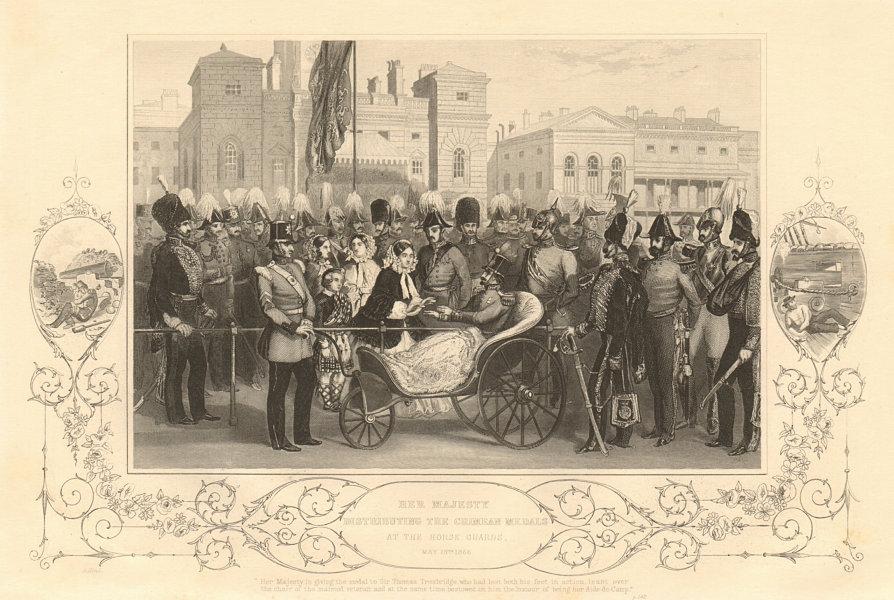 Associate Product Queen Victoria awarding Crimean War medals at Horse Guards, 1856. 1860 print