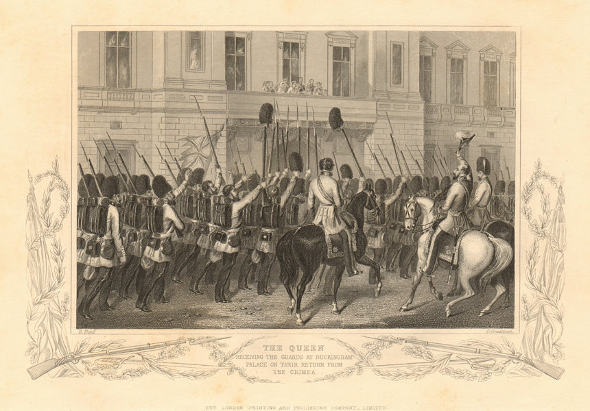 Associate Product CRIMEAN WAR. Queen Victoria reviewing the Guards at Buckingham Palace 1860