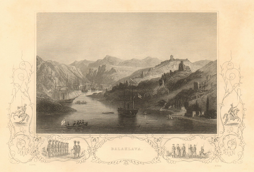 Associate Product CRIMEAN WAR. View of the harbour of Balaklava 1860 old antique print picture