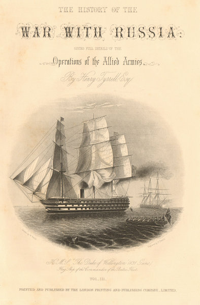 CRIMEAN WAR. HMS The Duke of Wellington, Royal Navy Baltic Fleet flagship 1860