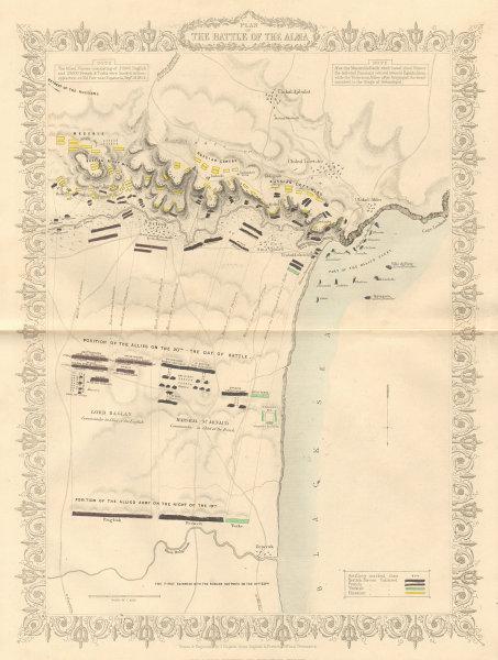 Associate Product BATTLE OF THE ALMA. Plan by TALLIS & RAPKIN. Sevastopol, Crimean War 1860 map