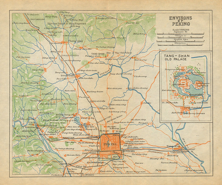 Associate Product 'Environs of Peking'. Beijing region antique map. China 1924 old