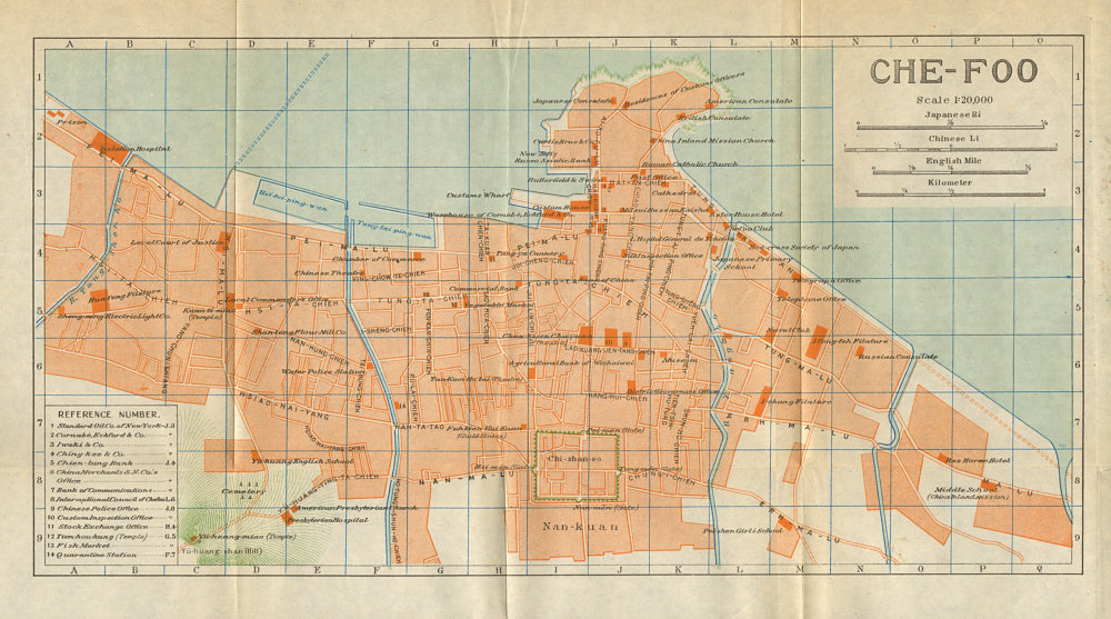 Associate Product 'Chefoo'. Yantai antique town city plan. China 1924 old map chart
