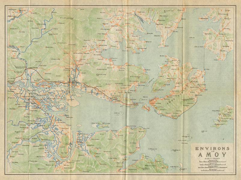 Associate Product 'Environs of Amoy'. Xiamen antique town city plan. China 1924 old map