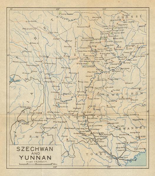 Associate Product 'Map of Yunnan & Szechwan Provinces'. Sichuan. Antique map. China 1924 old