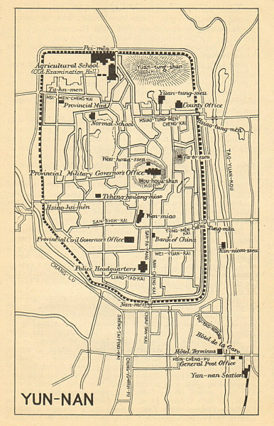 Associate Product 'Yunnan City'. Kunming antique town city sketch plan. China 1924 old map