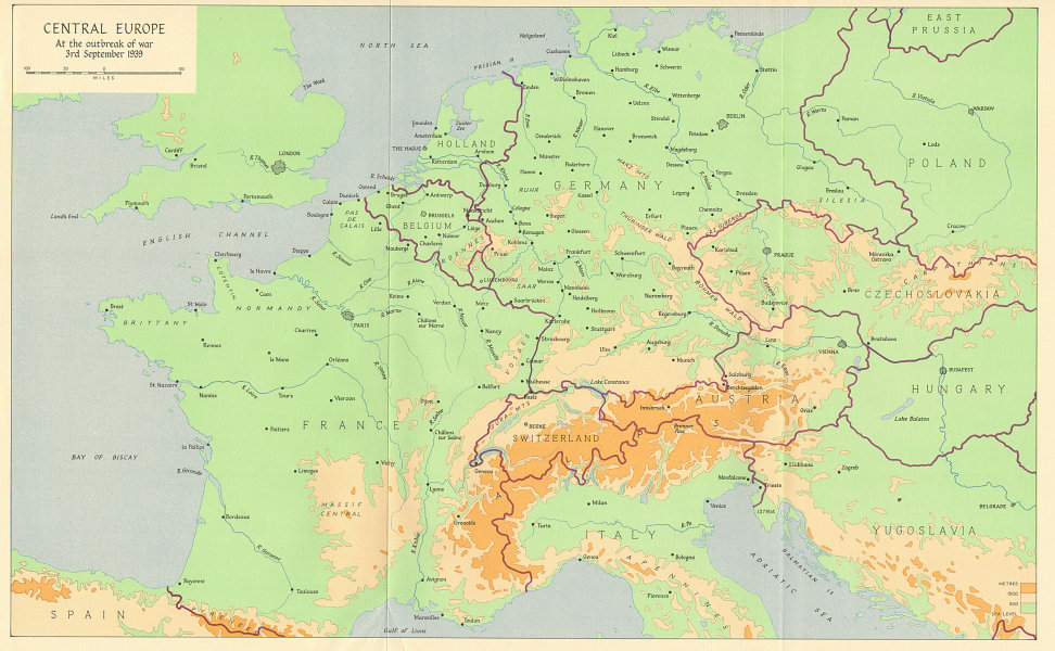 Associate Product Central Europe at the outbreak of World War Two, 3rd September 1939 1962 map