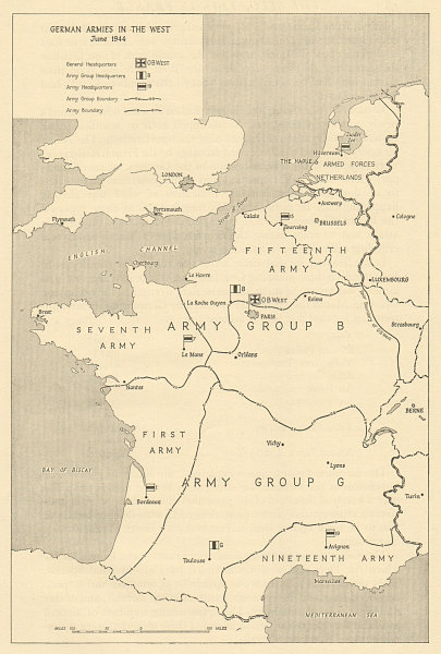 Associate Product German Armies in the West, June 1944. Operation Overlord/Neptune. D-Day 1962 map