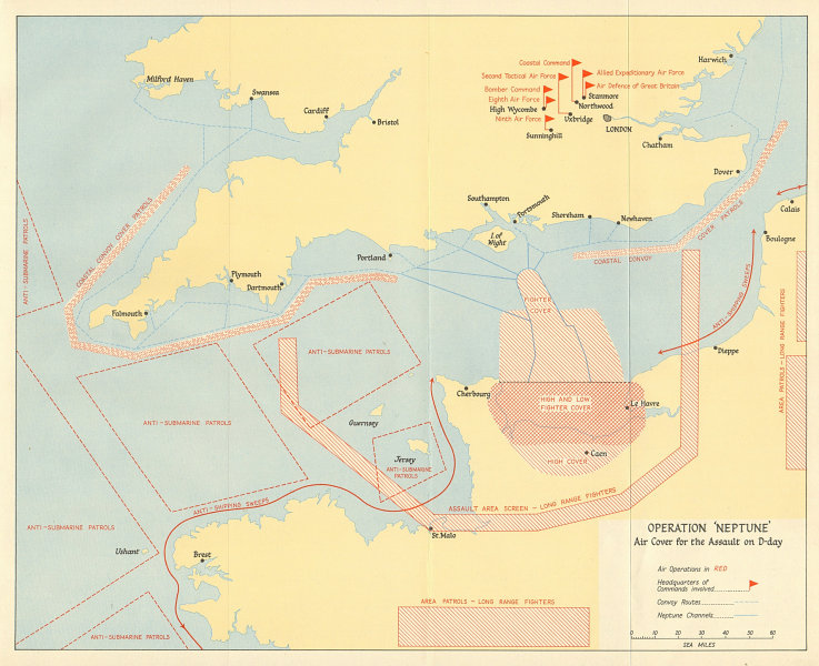 Associate Product Operation Neptune 1944.  Air cover for the D-Day Normandy landings 1962 map