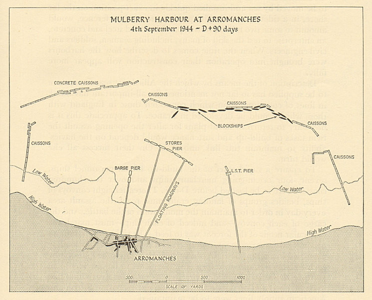 Associate Product Mulberry Harbour at Arromanches, Normandy. 4th September 1944. D-Day 1962 map