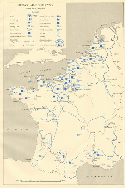 Associate Product German Army Dispositions, dawn 6th June 1944. D-Day Normandy landings 1962 map