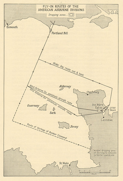 Associate Product D-Day Normandy 1944 American Airborne Divisions fly-in routes. Cotentin 1962 map