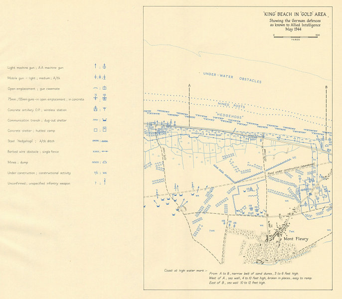 Associate Product D-Day. King Beach, Gold Area. German defences, May 1944. Mont Fleury 1962 map