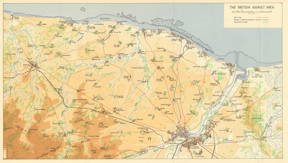 Associate Product D-Day June 1944 British Assault Area. Caen Bayeux Gold Juno Sword beach 1962 map