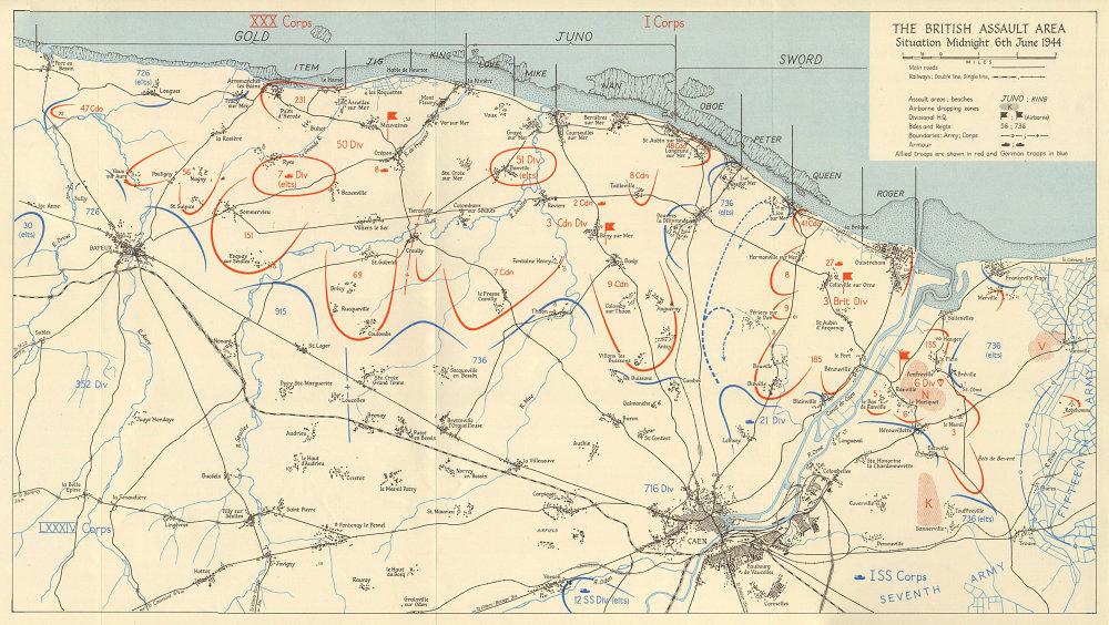 Associate Product D-Day British Assault area midnight 6 June 1944 Gold Juno Sword beaches 1962 map
