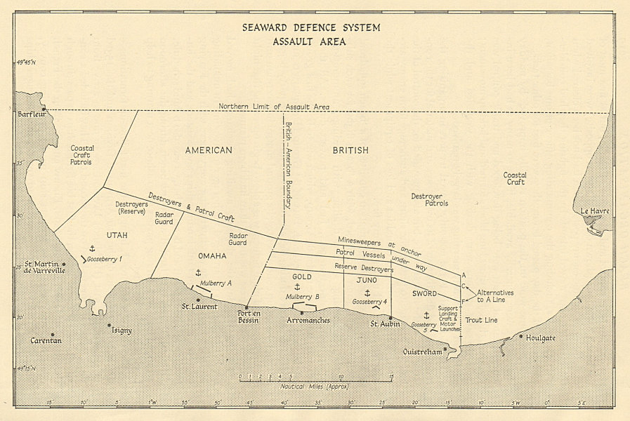 Associate Product D-Day June 1944 Seaward Defences Normandy landings assault area 1962 old map