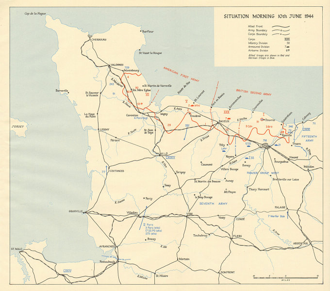 Associate Product D-Day Normandy landings. Situation morning 10th June 1944. Overlord 1962 map