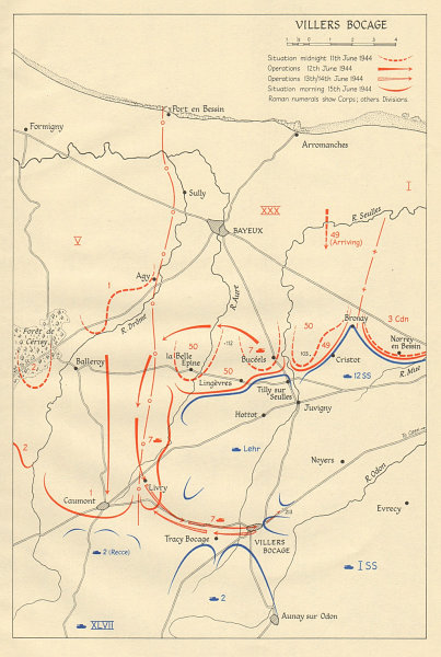 Associate Product Battle of Villers-Bocage, 11-15 June 1944. Operation Overlord. Normandy 1962 map
