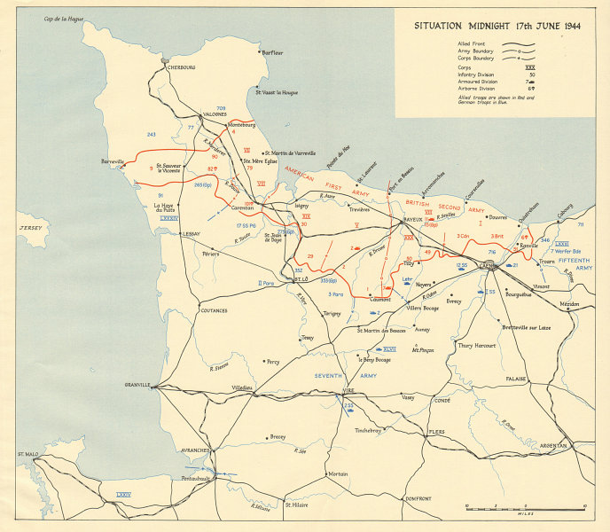 Associate Product Operation Overlord. Normandy landings. Situation midnight 17 June 1944 1962 map
