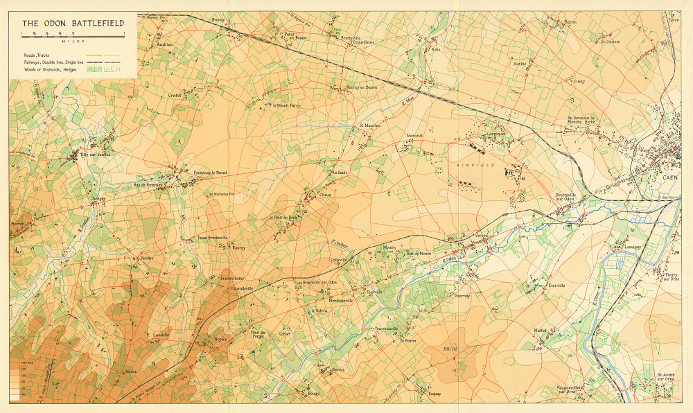 Associate Product The Odon Battlefield. Operation Epsom/Overlord June 1944. Caen Normandy 1962 map
