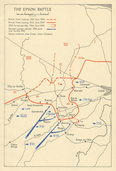 Associate Product Operation Epsom 24 June-1 July 1944. Caen Normany landings Overlord 1962 map