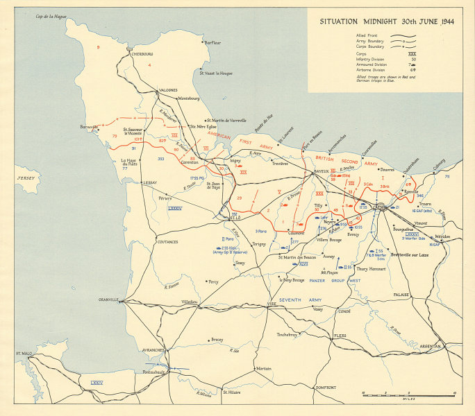Associate Product D-Day Normany landings. Situation midnight 30 June 1944. Overlord 1962 old map