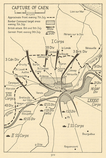 Associate Product Capture of Caen 7-9 July 1944. Operation Overlord. Invasion of Normandy 1962 map